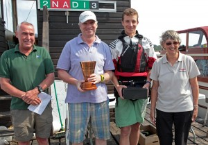 Champions Matthew & Freddie Scott with Race Officer Mark Luckhurst and Commodore Fil Daniels. Photo by Robin Myerscough